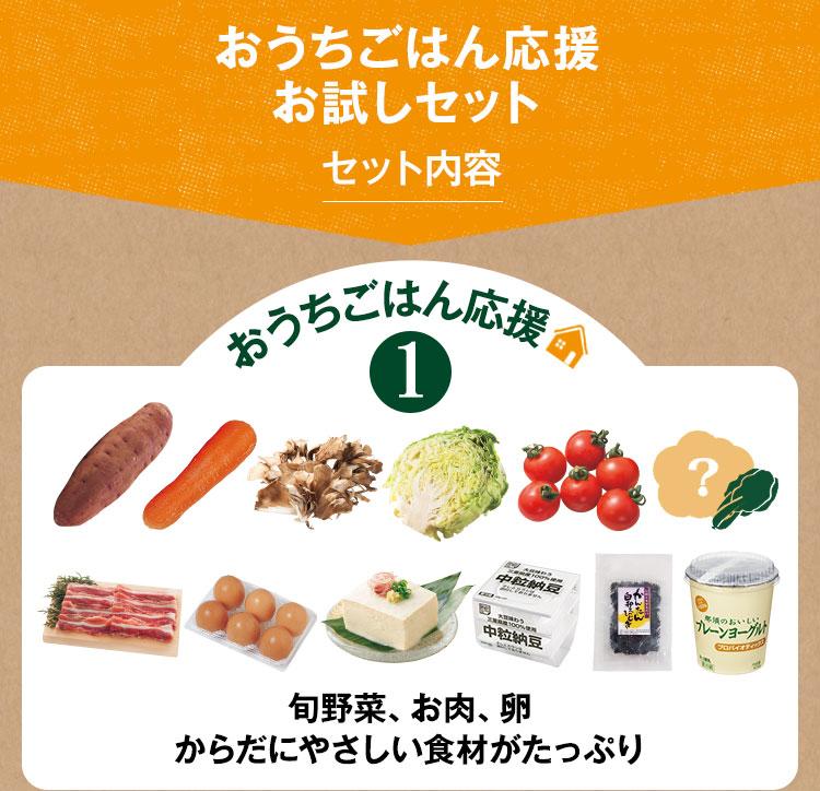 旬の野菜や卵、お肉もお届け